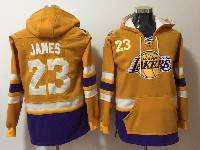 Mens Nba Los Angeles Lakers #23 Lebron James Yellow With Pocket Hoodie Jersey