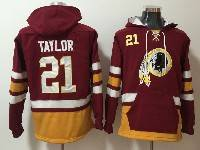 Mens Nfl Washington Redskins #21 Sean Taylor Red With Pocket Hoodie Jersey