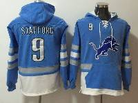 Mens Nfl Detroit Lions #9 Matthew Stafford Blue With Pocket Hoodie Jersey