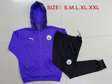 Mens Soccer Manchester City Club Purple Long Zipper Jersey With Black Sweat Pants
