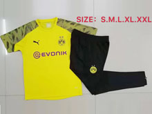 Mens Soccer Borussia Dortmund Club Yellow Short Sleeves And Black Sweat Pants Training Suit