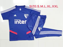 Mens Soccer Sao Paulo Blue Short Sleeves And Blue Sweat Pants Training Suit
