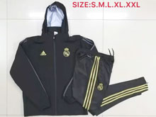 Mens 19-20 Soccer Real Madrid Club Black Long Zipper Black Jersey With Black Sweat Pants Thick With Wool ( H M )