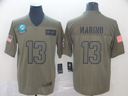 Mens Miami Dolphins #13 Dan Marino Green 2019 Salute To Service Limited Jersey