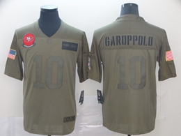 Mens Women Nfl San Francisco 49ers #10 Jimmy Garoppolo Green 2019 Salute To Service Limited Jersey