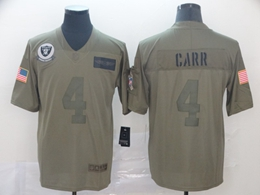 Mens Nfl Oakland Raiders #4 Derek Carr Green 2019 Salute To Service Limited Jersey