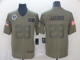 Mens Women Nfl Oakland Raiders #28 Josh Jacobs Green 2019 Salute To Service Limited Jersey