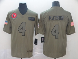 Mens Women Nfl Houston Texans #4 Deshaun Watson Green 2019 Salute To Service Limited Jersey