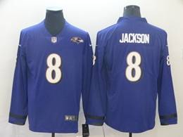 Mens Nfl Baltimore Ravens #8 Lamar Jackson Purple Nike Therma Long Sleeve Vapor Untouchable Jersey