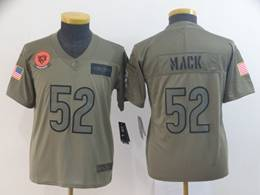 Women Youth Nfl Chicago Bears #52 Khalil Mack Green 2019 Salute To Service Limited Jersey