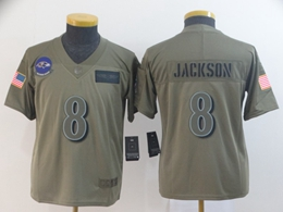Women Youth Nfl Baltimore Ravens #8 Lamar Jackson Green 2019 Salute To Service Limited Jersey