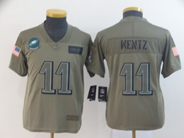 Women Youth Nfl Philadelphia Eagles #11 Carson Wentz Green 2019 Salute To Service Limited Jersey