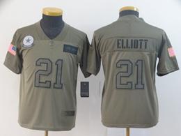 Women Youth Nfl Dallas Cowboys #21 Ezekiel Elliott Green 2019 Salute To Service Limited Jersey