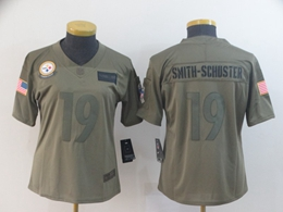 Women Youth Nfl Pittsburgh Steelers #19 Juju Smith-schuster Green 2019 Salute To Service Limited Jersey