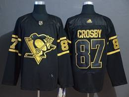 Mens Nhl Pittsburgh Penguins #87 Sidney Crosby Black Golden Adidas Jersey