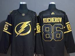 Mens Nhl Tampa Bay Lightning #86 Nikita Kucherov Black Golden Adidas Jersey