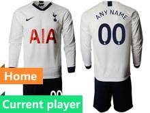 Mens 19-20 Soccer Tottenham Hotspur Club Current Player White Home Long Sleeve Suit Jersey