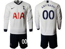 Mens 19-20 Soccer Tottenham Hotspur Club ( Custom Made ) White Home Long Sleeve Suit Jersey