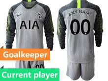 Mens 19-20 Soccer Tottenham Hotspur Club Current Player Gray Goalkeeper Long Sleeve Suit Jersey