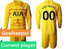 Mens 19-20 Soccer Tottenham Hotspur Club Current Player Yellow Goalkeeper Long Sleeve Suit Jersey