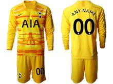 Mens 19-20 Soccer Tottenham Hotspur Club ( Custom Made ) Yellow Goalkeeper Long Sleeve Suit Jersey
