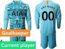 Mens 19-20 Soccer Tottenham Hotspur Club Current Player Blue Goalkeeper Long Sleeve Suit Jersey