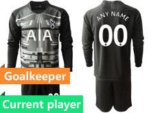 Mens 19-20 Soccer Tottenham Hotspur Club Current Player Black Goalkeeper Long Sleeve Suit Jersey