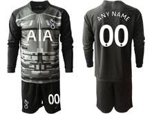 Mens 19-20 Soccer Tottenham Hotspur Club ( Custom Made ) Black Goalkeeper Long Sleeve Suit Jersey