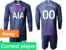 Mens 19-20 Soccer Tottenham Hotspur Club Current Player Purple Away Long Sleeve Suit Jersey