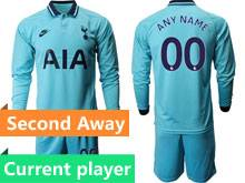 Mens 19-20 Soccer Tottenham Hotspur Club Current Player Blue Second Away Long Sleeve Suit Jersey