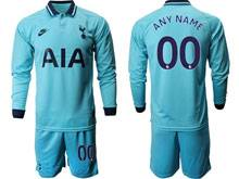 Mens 19-20 Soccer Tottenham Hotspur Club ( Custom Made ) Blue Second Away Long Sleeve Suit Jersey