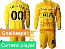 Youth 19-20 Soccer Tottenham Hotspur Club Current Player Yellow Goalkeeper Long Sleeve Suit Jersey