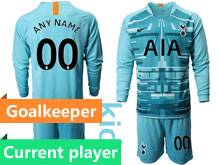 Youth 19-20 Soccer Tottenham Hotspur Club Current Player Blue Goalkeeper Long Sleeve Suit Jersey