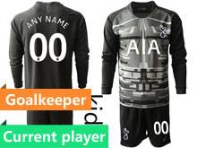Youth 19-20 Soccer Tottenham Hotspur Club Current Player Black Goalkeeper Long Sleeve Suit Jersey