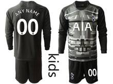 Youth 19-20 Soccer Tottenham Hotspur Club ( Custom Made ) Black Goalkeeper Long Sleeve Suit Jersey