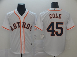 Mens Mlb Houston Astros #45 Gerrit Cole White 2019 World Series Cool Base Jersey