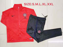 Mens Jordan 19-20 Soccer Paris Saint Germain Red Training And Black Sweat Pants Training Suit ( Zipper )
