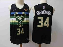 Mens 2019-20 Nba Milwaukee Bucks #34 Giannis Antetokounmpo Black City Edition Nike Swingman Jersey
