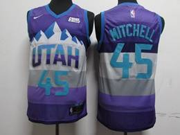 Mens Nba Utah Jazz #45 Donovan Mitchell Purple City Edition New Nike Swingman Jersey