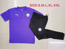 Mens 19-20 Soccer Manchester City Club Purple Polo Shirt And Black Sweat Pants Training Suit