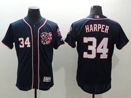 Mens Mlb Washington Nationals #34 Bryce Harper Navy Blue Stars And Stripes Flex Base Jersey