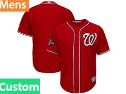 Mens Mlb Washington Nationals Custom Made Red 2019 World Series Champions Cool Base Jersey