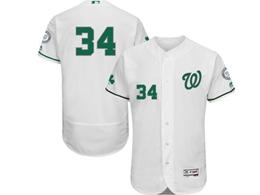 Mens Mlb Washington Nationals #34 Bryce Harper White Green Number No Name Flex Base Jersey