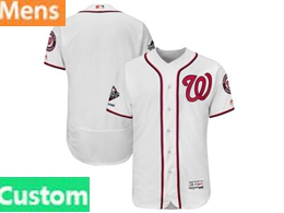 Mens Mlb Washington Nationals Custom Made White 2019 World Series Champions Flex Base Jersey