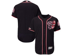 Mens Mlb Washington Nationals Blank Navy Blue Stars And Stripes Flex Base Jersey