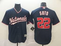 Mens Mlb Washington Nationals #22 Juan Soto Navy Blue Cool Base Jersey