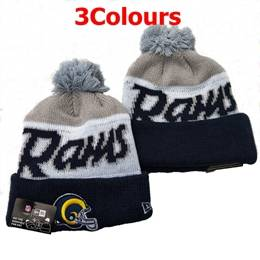 Mens Nfl Los Angeles Rams Blue&white&gray New Sport Knit Hats 3 Colors