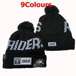Mens Nfl Oakland Raiders Black&white&gray 100th New Sport Knit Hats 9 Colors