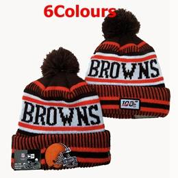 Mens Nfl Cleveland Browns Brown&orange&white 100th New Sport Knit Hats 6 Colors