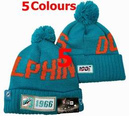 Mens Nfl Miami Dolphins Green&orange&white 100th New Sport Knit Hats 5 Colors